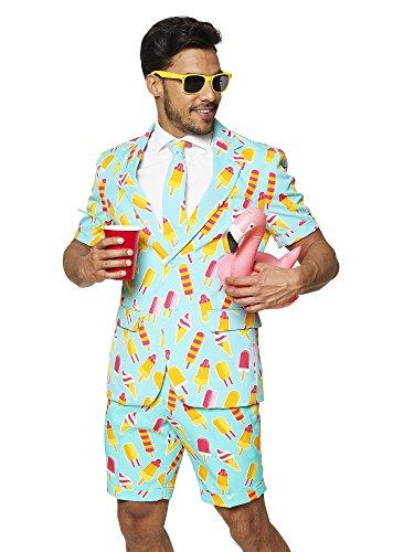 Opposuits Herren Sommeranzug: Shorts, Kurzarmjacke & Krawatte + gratis Sonnenbrille & Getränkehalter - Blau - 50