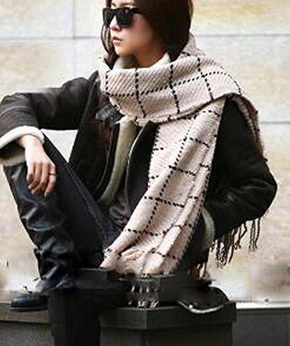 Gesäumten Rand Schal (HYW Herbst und Winter Feld Wort Gitter Schal Nachahmung Kaschmir Rand Gesäumten Schal Damen Klimaanlage Schal,Polieren)