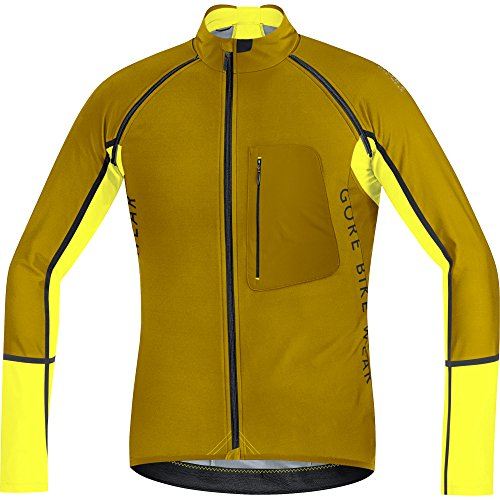 GORE BIKE WEAR- Hombre- Maillot de ciclismo- ALP-X PRO WINDSTOPPER Soft Shell Zip-Off, Dorado/Amarillo, talla XL, SWPALP