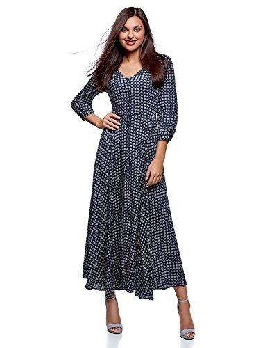 oodji Ultra Damen Maxi-Kleid mit Knöpfen, Blau, DE 34 / EU 36 / XS