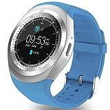 3,1cm yuvarlak Bluetooth Smart Watch telefon uzaktan kumanda ile sim TF kart yuvası adım sayacı uyku monitör alarm Touch Kol saati iOS Android akıllı telefonlar için