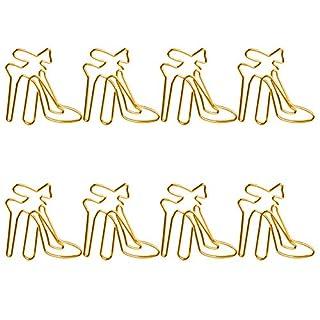 CAOLATOR Büroklammern High Heels Motiv Aktenklammer Heftklammern Deko Briefklammern Klammerspender Metall Paper Clips, 3.6cm*4.1cm, 8 Stück (Gold)