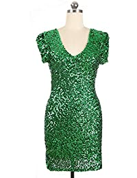 Vestito da Donna a Maniche Corte con Profondo Scollo a V Glitter Sequin  Bodycon Elastico Mini Clubwear Cocktail Party… 84a60970486