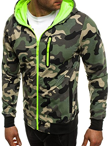 OZONEE Uomo Maglia Pullover Pullover con cappuccio Pullover Sportivi Militare Mimetico RED FIREBALL 1121 Verde