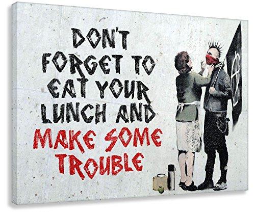 Kunstbruder Leinwandbild Like Banksy Make Some Trouble! (Div. Größen) Bild fertig auf Keilrahmen Kunstdruck auf Leinwand Wandbild Dekoration Street-Art Graffiti (70x100 cm) -