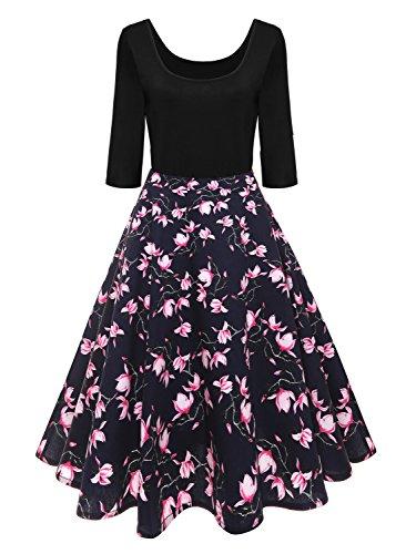 Babyonlinedress Chic Damen 50s 60s Rockabilly Kleid Vintage Swing Pinup Langarm Festliches Kleider...