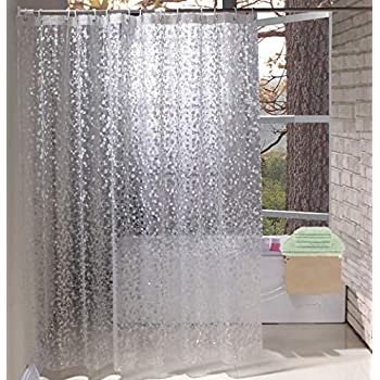 Shower Curtains.Eurcross Shower Curtains Eva Shower Curtains With Crystal Stone Waterproof And Mildew Resistant Semi Transparent Bathroom Curtain Cobblestone