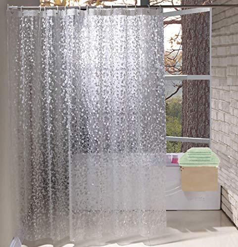 Eurcross Halbtransparente Duschvorhang Wasserdicht anti schimmel mit 6 Haken, 3D-Effekt Cobblestone Duschvorhang Durchsichtige Kieselsteine, 90 x 180cm (Kieselsteine Duschvorhang)