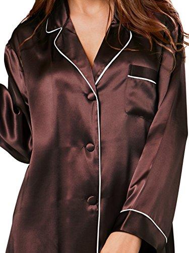 ELLESILK Damen Seide Nachtshirt Langarm, Sleepshirt 100% Maulbeerseide 22 Momme Espressobraun/Weiß