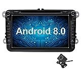Ohok 2 DIN Android 8.0.0 Autoradio 8 Pulgadas Oreo Octa Core 4GB Ram 32GB ROM Reproductor DVD/GPS Navegador Soporta AV-IN SWC para VW Volkswagen Seat Skoda Golf con Camara Trasera