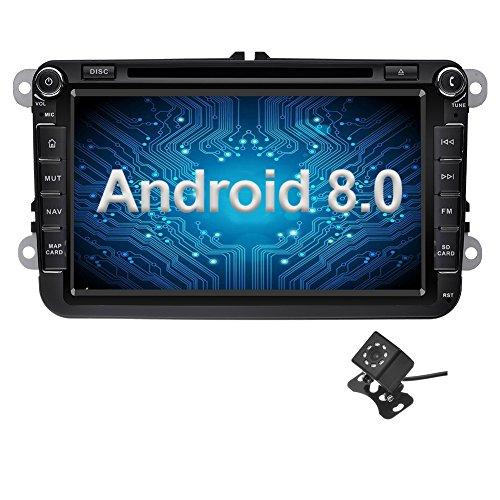 Ohok 8 Pollici Android 8.0 Oreo Octa Core 2 Din In Dash Autoradio Schermo di Tocco Lettore DVD Navigatore GPS Con Bluetooth Per VW Volkswagen Golf Passat con piccola telecamera di retromarcia