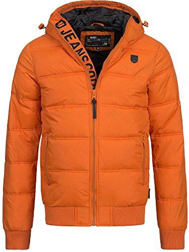 INDICODE Herren Adrian Winterjacke Steppjacke Regenjacke mit Kapuze Windbreaker Orange