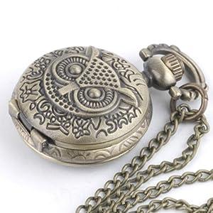 Collana vintage in ottone, orologio da tasca, gufo, catena lunga from 81stgeneration