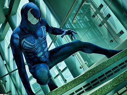 POIUYT Spiderman Kostüm Erwachsene Cosplay Halloween Weihnachten Kostüm Requisiten 3D Prin Spandex Overall Partykleid Lycra Strumpfhose Avengers - Superheld Trikot Set,Blue-XL