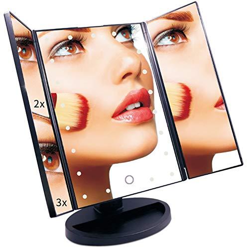 LED-Schminkspiegel mit Licht, eckig, klappbar, 2X / 3X-Lupe, Touchscreen, USB-Aufladung, AAA-Batterie, dimmbar, drehbar,Black -