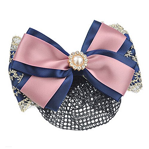 Elégant Hair Snood Net Girl Pin Bow Tie Spring Clip Clip Barrette cheveux, Rose