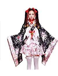 tzm2016 Japanese Cherry blossoms pattern Kimono Anime Cosplay Lolita Halloween Fancy Dress…