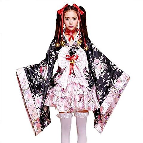 tzm2016 Japanese Cherry blossoms pattern Kimono Anime Cosplay Lolita Halloween Fancy Dress Costume