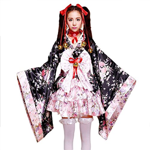 tzm2016 Japanese Cherry blossoms pattern Kimono Anime Cosplay Lolita Halloween Fancy Dress Costume S (Outfits Kids Dress Up)