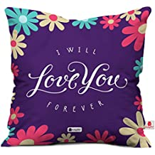 Indigifts Micro Satin, Fibre I Will Love You Forever Quote Floral Print Cushion Cover with Filler (Purple, 12x12-inch)