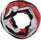 styleBREAKER Unisex Loop Schal Feinstrick mit Wellen Muster, Schlauchschal, Strickschal 01017080, Farbe:Schwarz-Grau-Rot