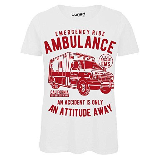 CHEMAGLIETTE! T-Shirt Divertente Donna Maglietta Cotone con Stampa Ironica Ambulance Tuned Bianco
