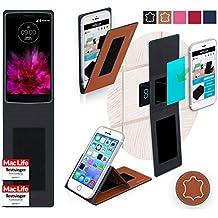 Funda para LG G Flex 2in Marrón Cuero - Innovadora Funda 4 en 1-Anti-Gravedad para Montaje en Pared, Soporte de Tableta en Vehículos, Soporte de Tableta - Protector Anti-Golpes para Coches y Paredes sin necesidad de herramientas o pegamento - Funda de Reboon para LG G Flex 2 Original