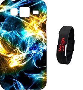 BKDT Marketing Printed Back Cover for Samsung Galaxy J1 with Digital Watch