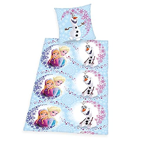 Herding parure de lit walt 448050050412 disney's la reine des neiges avec taie d'oreiller 80 x 80 cm et housse de couette 135 x 200 cm, 100 % coton renforcé