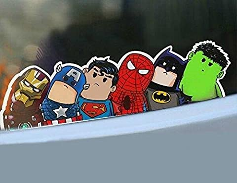 Cute Car Stickers Safety Warning Racing Decal Docer Body Reflective Save World Hero Cartoon Wry Crooked Neck Home Office Art Avengers by Car stickers