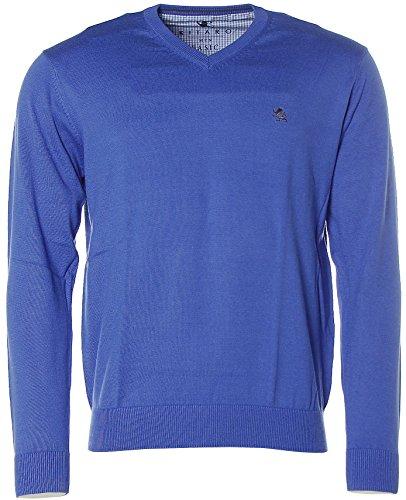 Kitaro Herren Pullover Strick V-Ausschnitt Basic Atlantic Blue