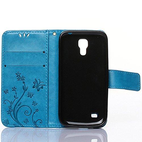 Samsung Galaxy S4 mini Hülle, Samsung Galaxy S4 mini Schutzhülle, Alfort 3 in 1 Lederhülle Fashion Design Premium PU Leder Hohe Qualität Tasche Case Cover Kasten Abdeckung Wallet für Samsung Galaxy S4 Blau