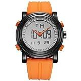 SINOBI Digitale Herren Uhren Analog LED Multifunktion Sport Armbanduhr mit Alarm Stoppuhr und Kautschuk armband (Orange)