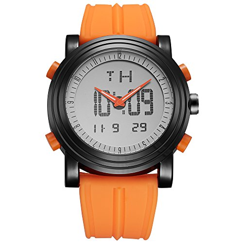 SINOBI Digitale Herren Uhren Analog LED Multifunktion Sport Armbanduhr mit Alarm Stoppuhr und Kautschuk Armband