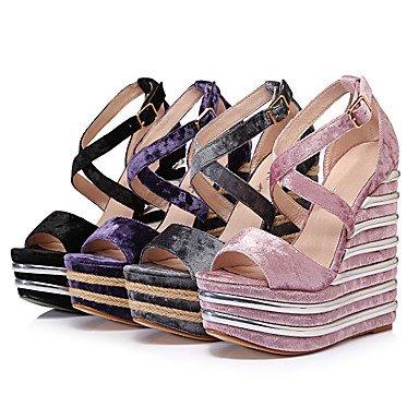 LvYuan Damen-Sandalen-Kleid Lässig Party & Festivität-Samt-Keilabsatz-Andere-Schwarz Lila Hellrosa Dunkel Grau Purple