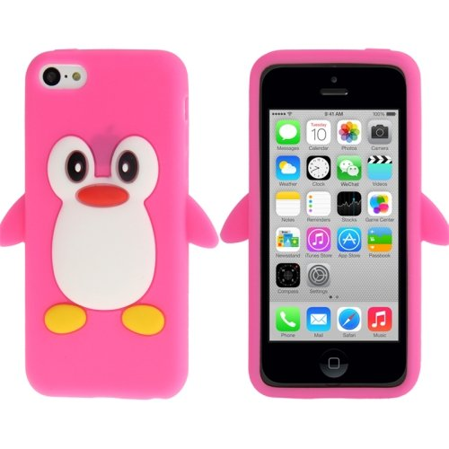 Coque silicone cartoon Pingouin pour iphone 5C rose bonbon