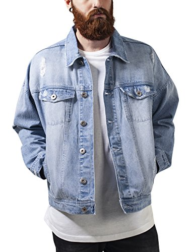 Urban Classics Ripped Denim Jacket, Giacca Uomo, Mehrfarbig (Bleached 14), Medium