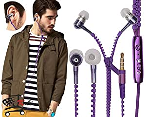 Zipper Style Earphones Headset Handsfree Compatible For Lenovo A2010 -Purple