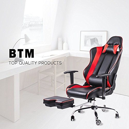 High Back Racing Sport Reclining Swivel Chair with Foot Stool