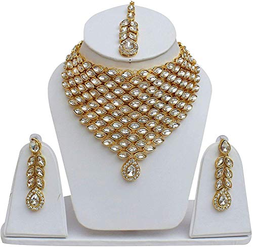 brado jewellery Alloy White Kundan Necklace/Jewellery Set Mangtika Earring Set for Women/Girls(BJ-PRNW-002)
