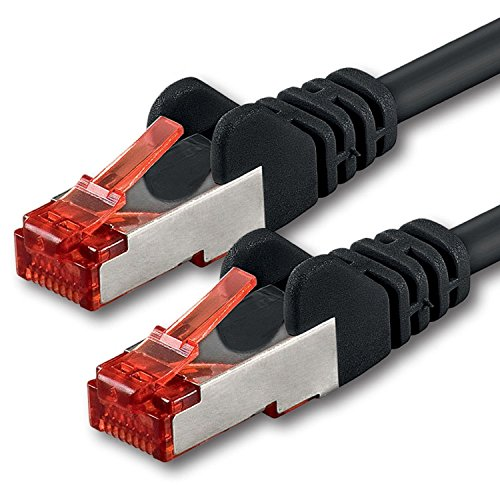 1aTTack.de Netzwerkkabel Cat 6 (7,5m - schwarz - 1 Stück) Ethernetkabel Lankabel Cat6 Sftp Patchkabel Set 1000 Mbit/s Internet DSL Anschluss Router Computer