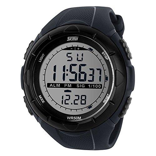 Sunjas 5ATM Men's Waterproof Fashion Watch LCD Digital Stopwatch Chronograph Date Alarm Rubber Sports Wrist Watch, grey