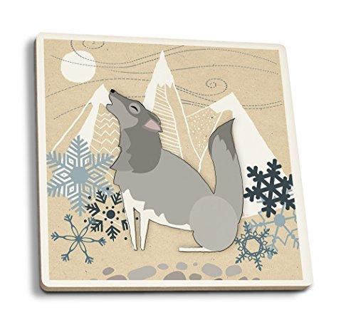 Winter Wolf Howling, keramik, mehrfarbig, 4 Coaster Set Wolf Coaster Set