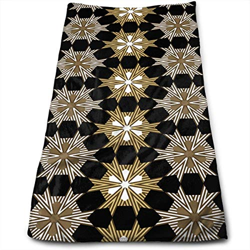 QuGujun Bath Towel Size Art Deco Geometric Star Badge Super Soft Absorbent Sports/Beach/Shower/Pool Towel -