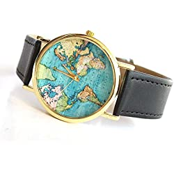 Old Map Blue Ocean World Map Earth Women Ladies Oversized Black Leather Watch