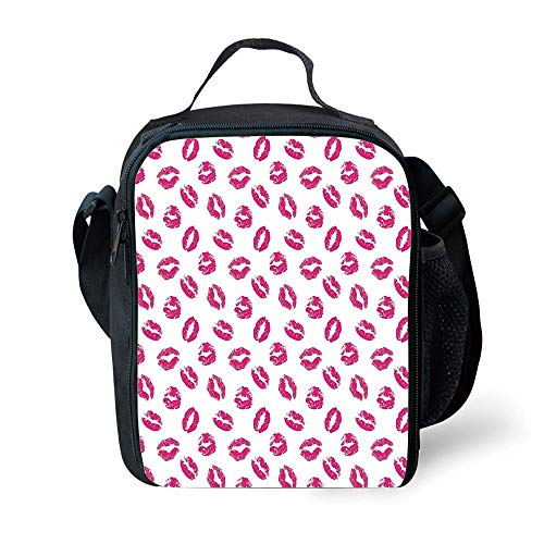 s Kiss,Vibrant Colored Lipstick Kiss Print Smooch Abstract Hot Pink Grungy Look Feminine,Fuchsia White for Girls or Boys Washable ()