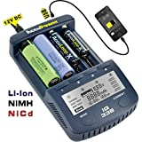 AccuPower IQ338 Ladegerät mit LCD-Display, Entladefunktion, Kapazitätsmessung, USB-Ausgang für 18650/AA/Mignon/AAA/Micro/Ni-Cd/Ni-MH/Li-Ion