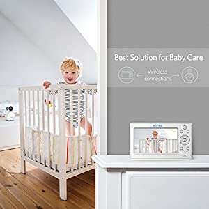 "HOMIEE 720P Wireless Video Baby Monitor with 5"" HD LCD Digital Screen & Babmax Appearance Camera, Two Way Audio and Baby Lullabies, Sound & Temperature Alert, Low Battery & Out of Range Alarm, Night Vision with 1000ft Range"