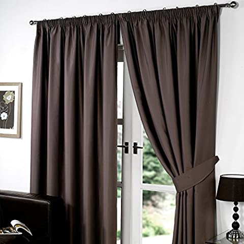 Dreamscene Thermal Pencil Pleat Ready Made Lined Blackout Pair Curtains with Tiebacks, Chocolate, 90 x