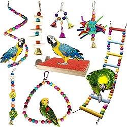 Juguetes para Pájaros, PietyPet 8 Piezas Perchas Pájaros Juguetes con Campanas, Escalera de madera, Columpios, Hamaca de Madera, Que cuelga la Perca Juguete para pequeños y medianos loros de aves